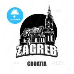 Zagreb, Croatia, black and white logo