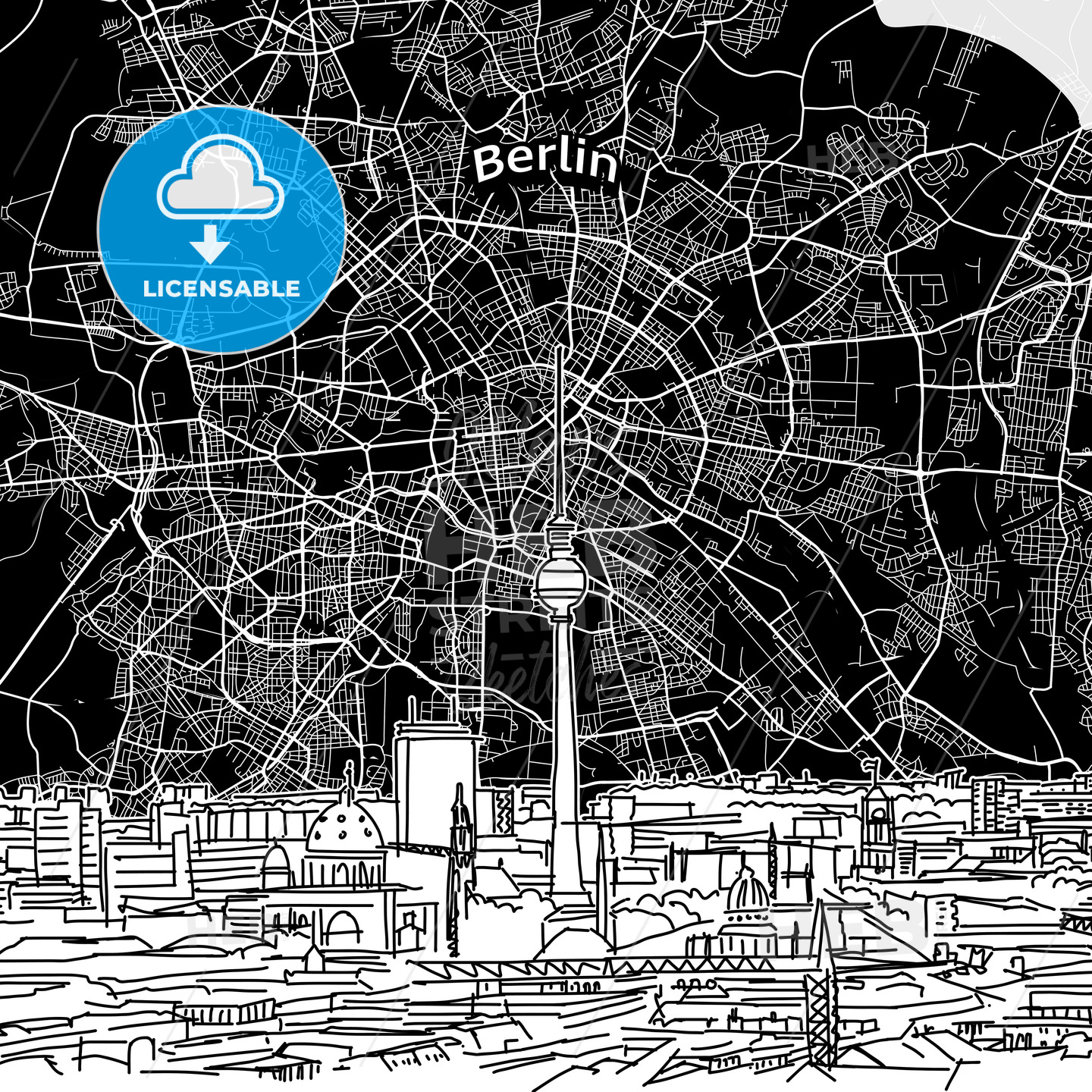 Berlin skyline with map - HEBSTREITS