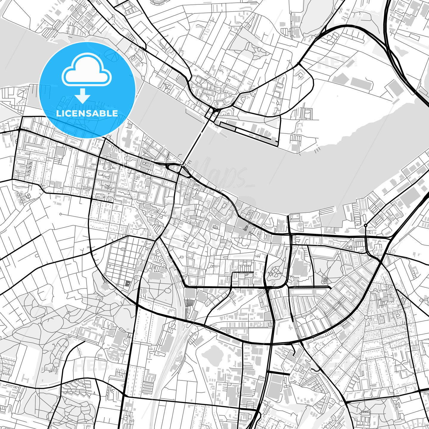 Downtown map of Aalborg, Denmark - HEBSTREITS