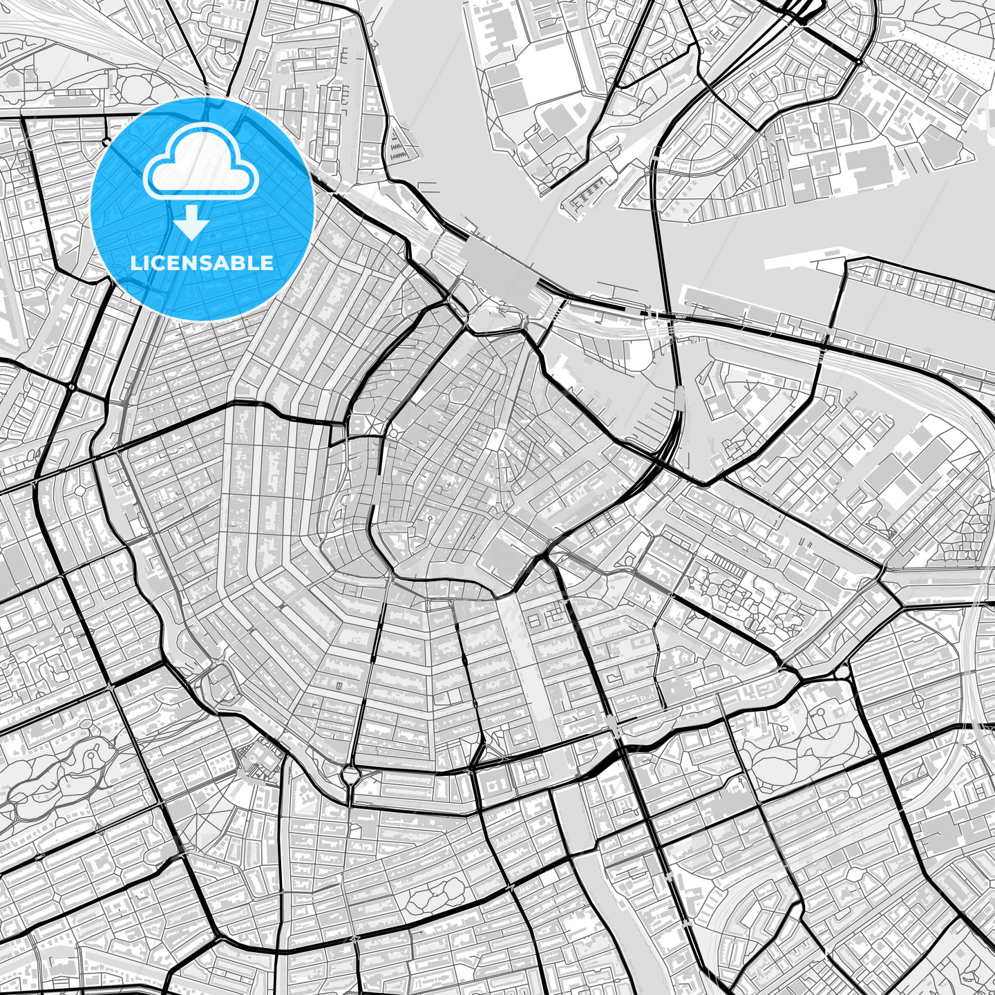 Downtown map of Amsterdam, Netherlands - HEBSTREITS