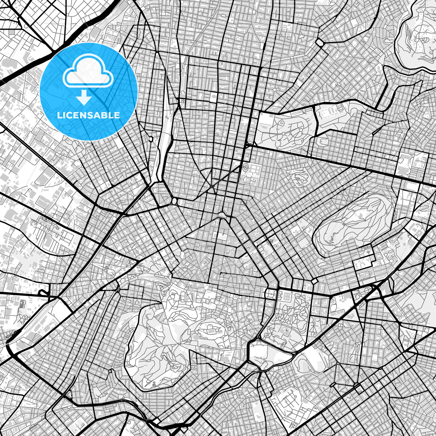 Downtown map of Athens, Greece - HEBSTREITS