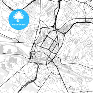 Downtown map of Charleroi, Belgium - HEBSTREITS