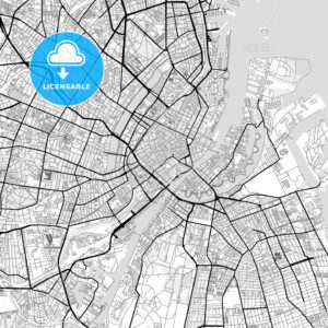Downtown map of Copenhagen, Denmark - HEBSTREITS