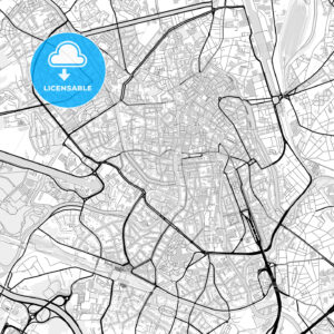 Downtown map of Ghent, Belgium - HEBSTREITS