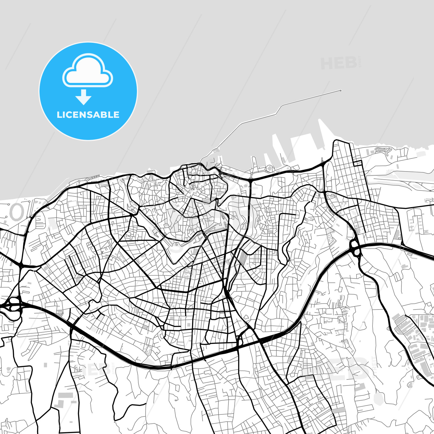 Downtown map of Heraklion, Greece - HEBSTREITS