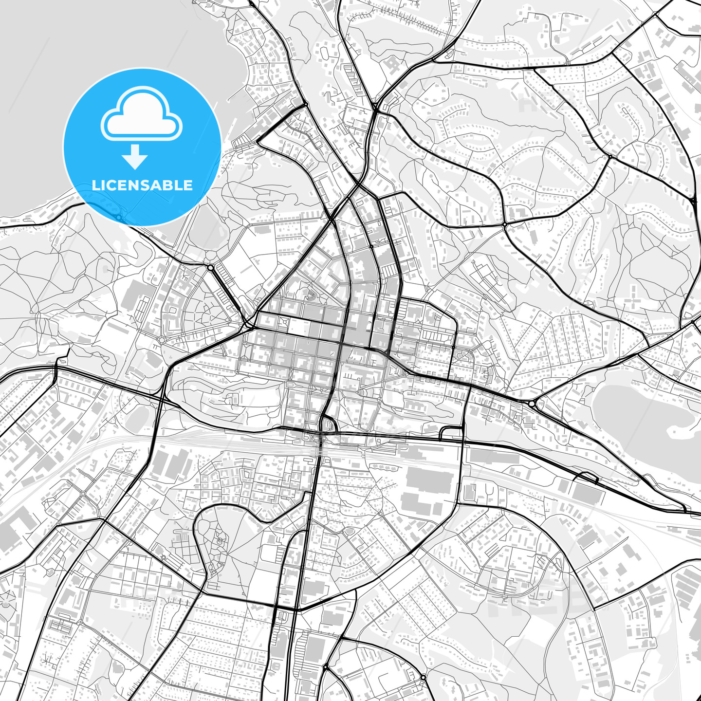 Downtown map of Lahti, Finland - HEBSTREITS