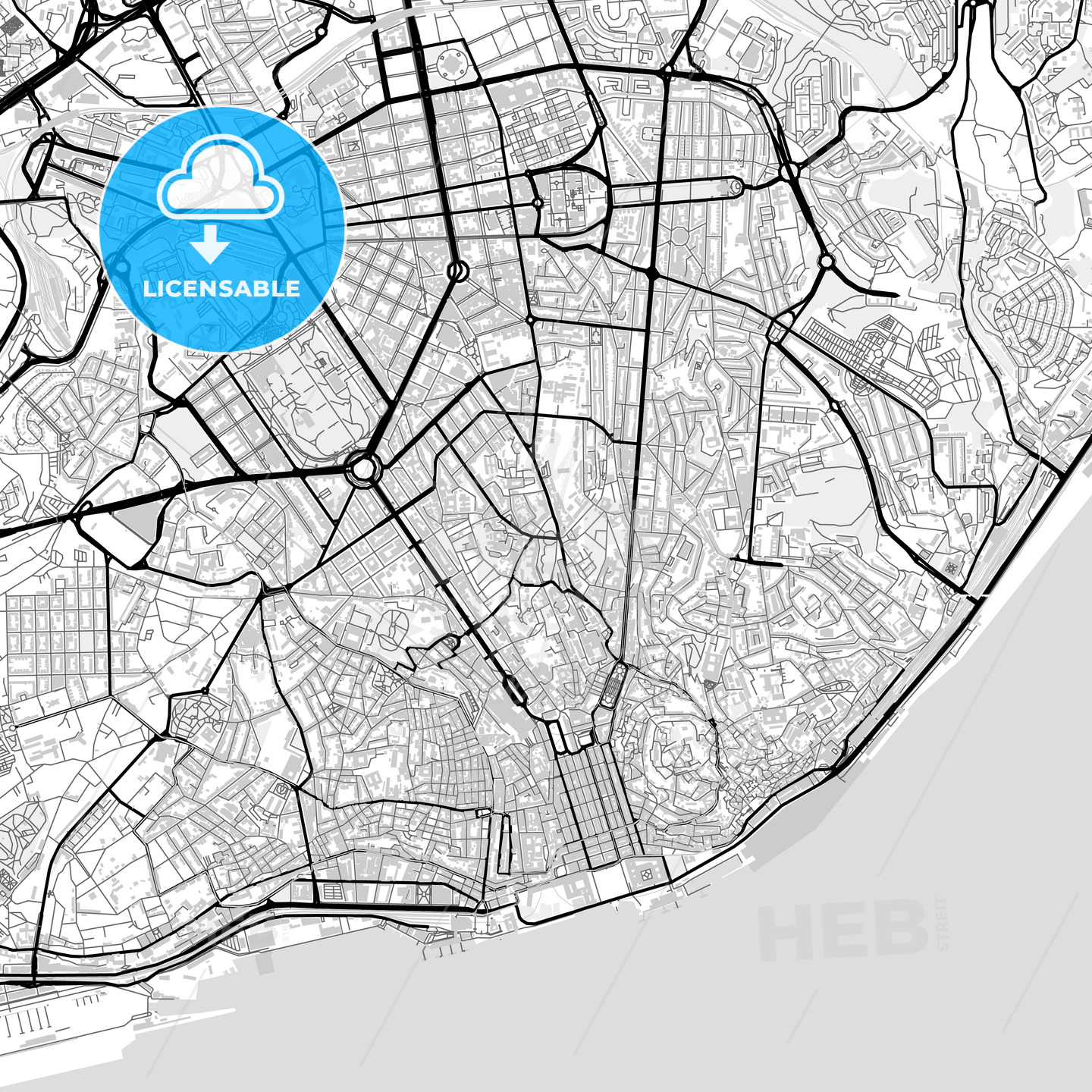 Downtown map of Lisbon, Portugal - HEBSTREITS