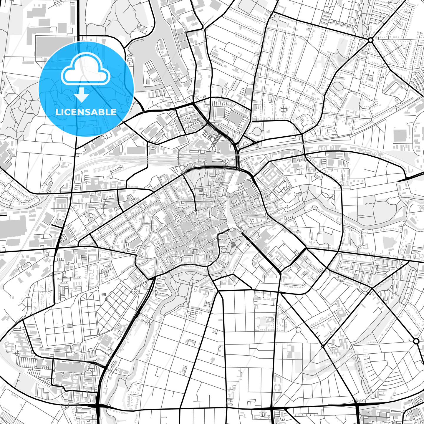 Downtown map of Odense, Denmark - HEBSTREITS