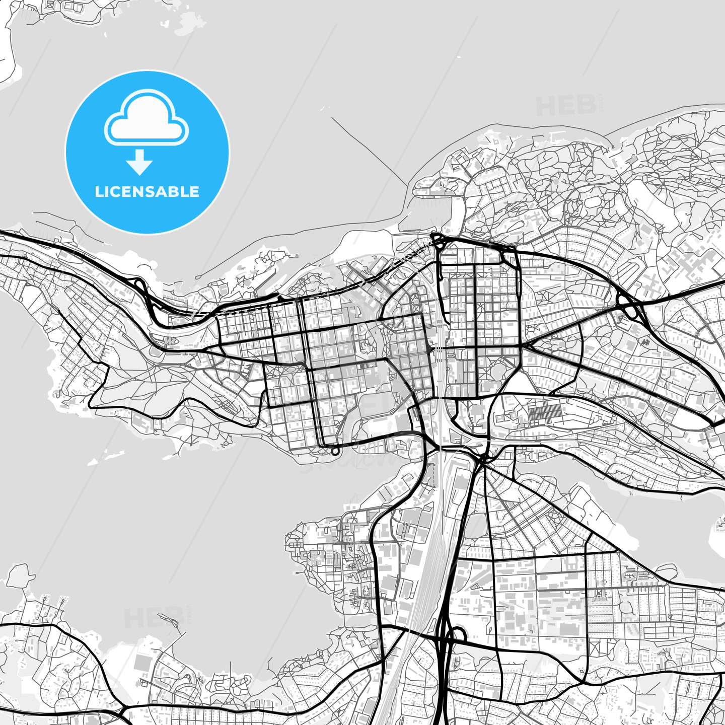 Downtown map of Tampere, Finland - HEBSTREITS