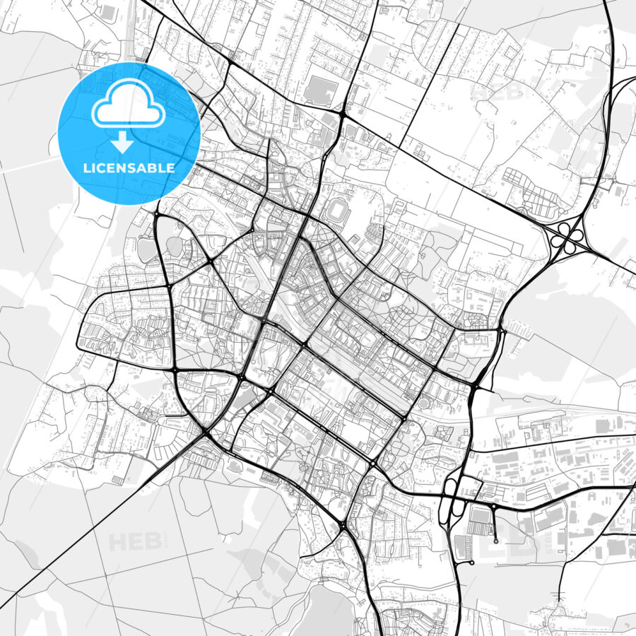 Downtown map of Tychy, Poland - HEBSTREITS