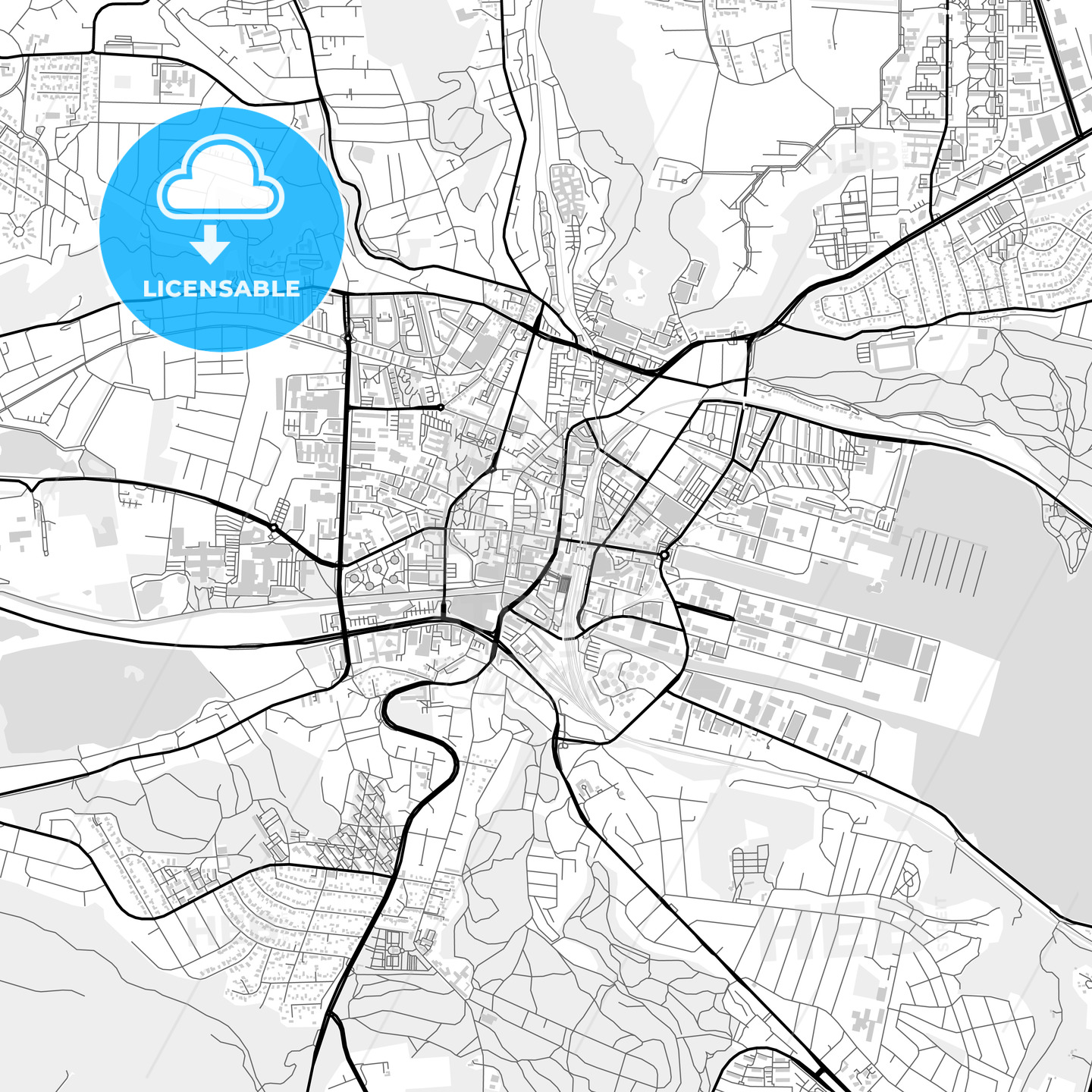 Downtown map of Vejle, Denmark - HEBSTREITS