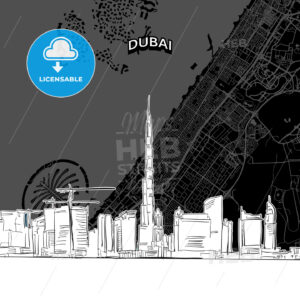 Dubai skyline with map - HEBSTREITS