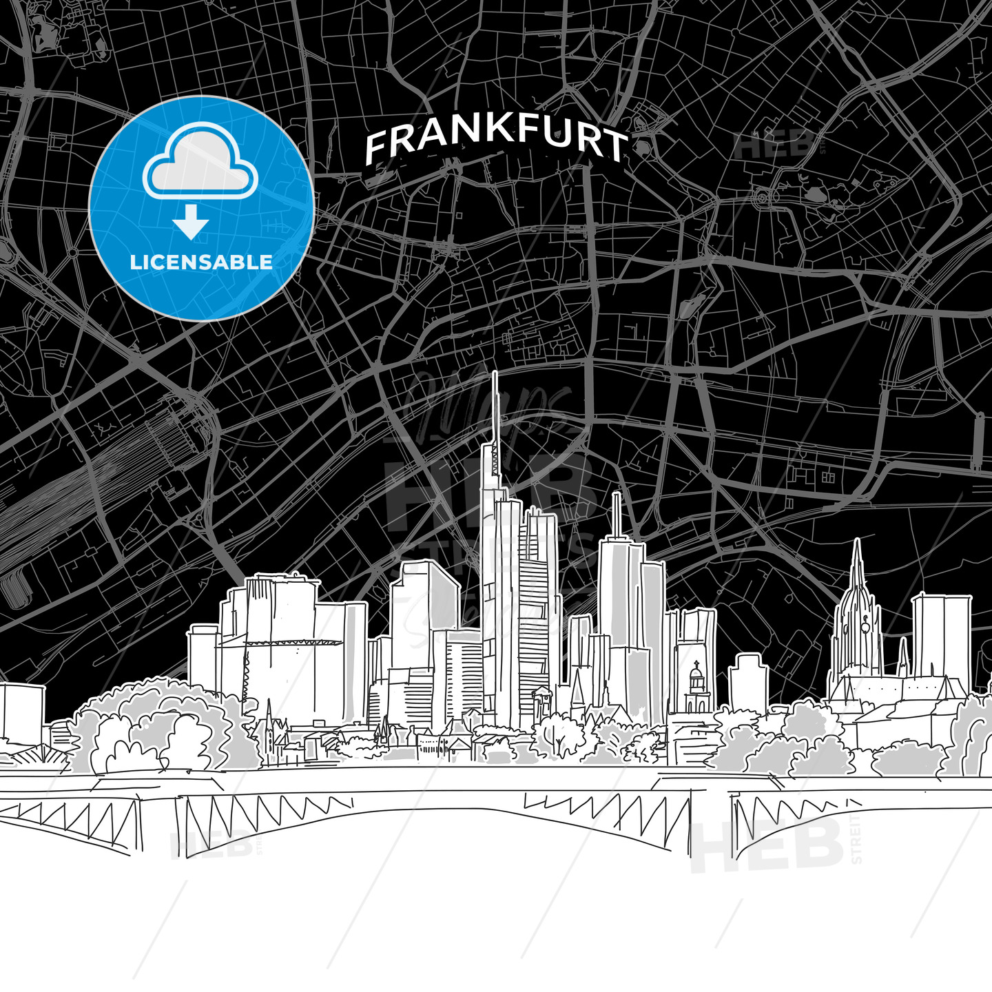 Frankfurt skyline with map - HEBSTREITS