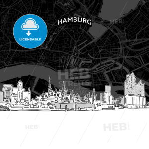 Hamburg skyline with map - HEBSTREITS