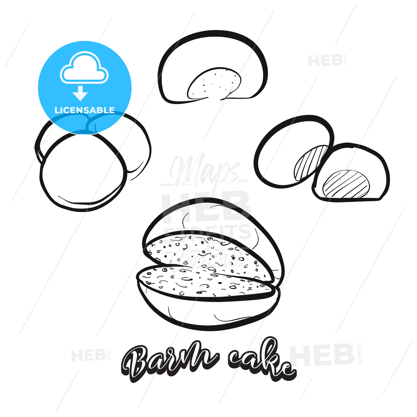 Hand drawn sketch of Barm cake bread - HEBSTREITS