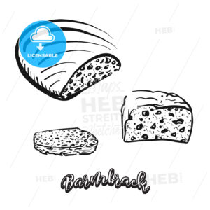 Hand drawn sketch of Barmbrack bread - HEBSTREITS