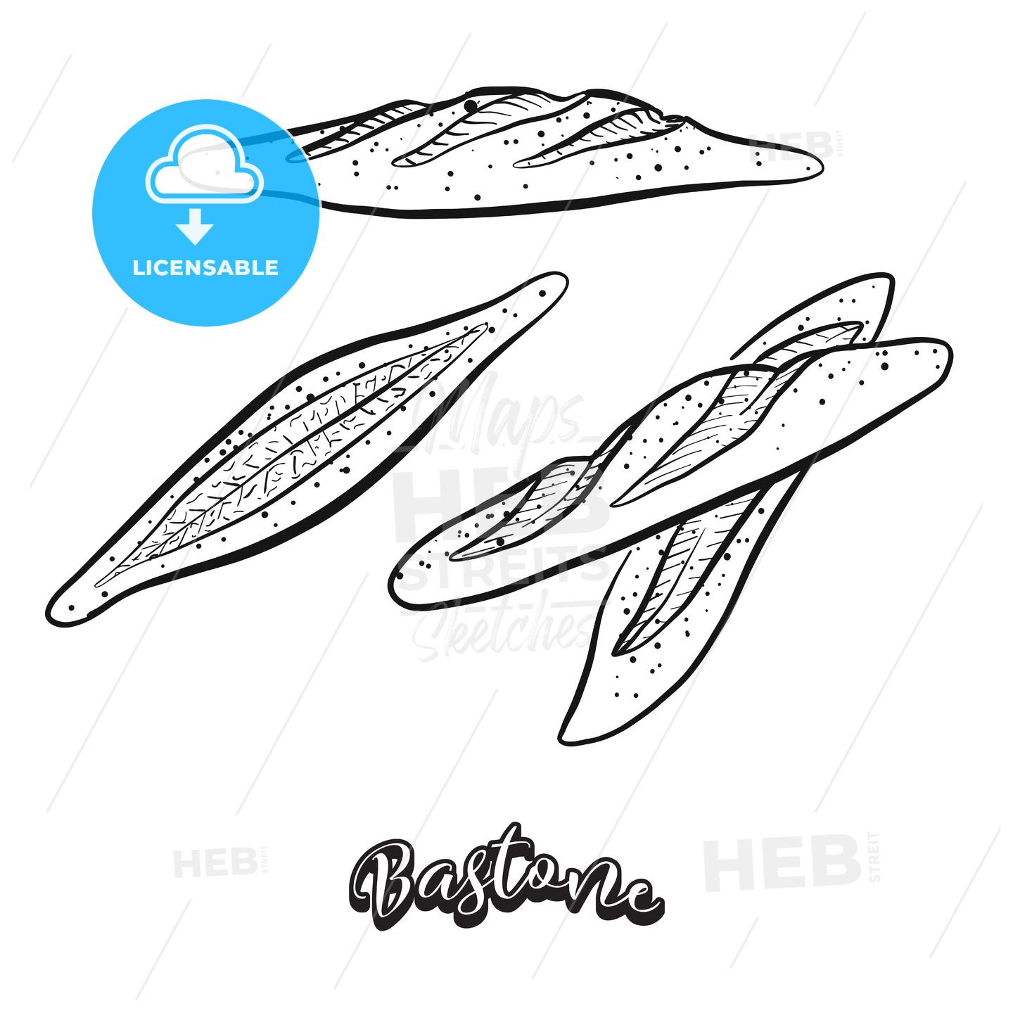 Hand drawn sketch of Bastone bread - HEBSTREITS