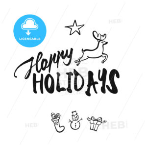 Happy Holidays lettering - HEBSTREITS