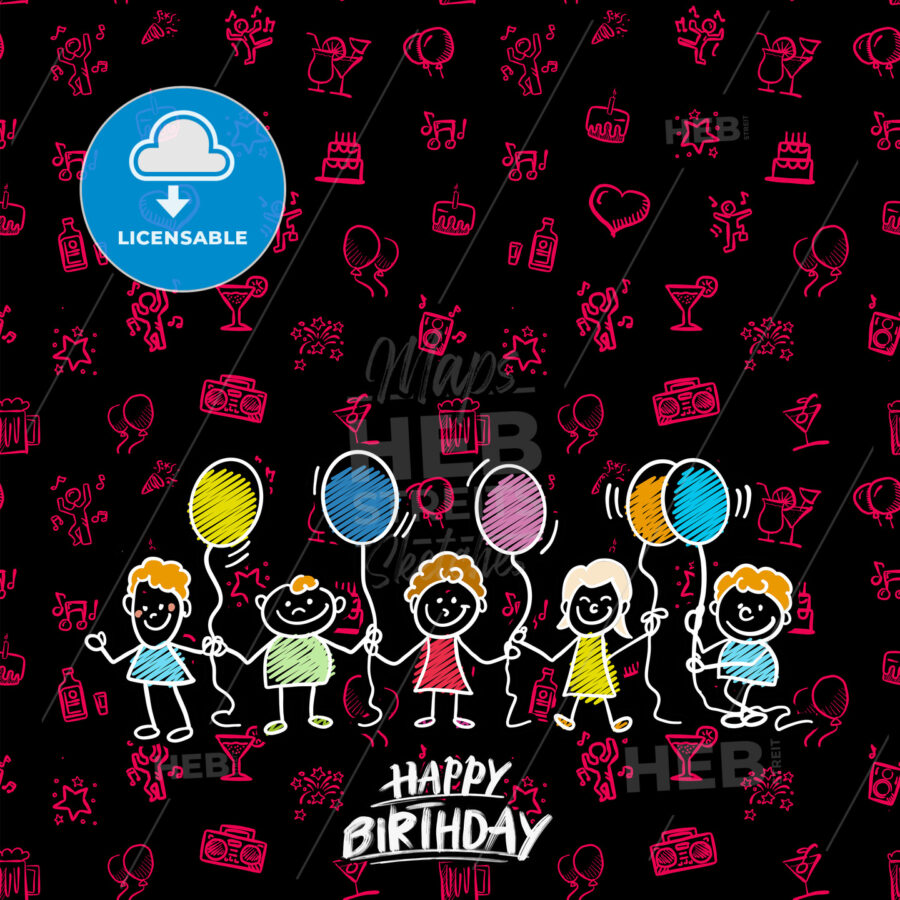 Happy birthday doodles background - HEBSTREITS