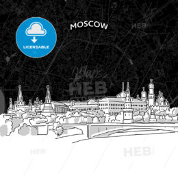 Moscow skyline with map