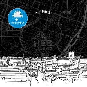 Munich skyline with map - HEBSTREITS