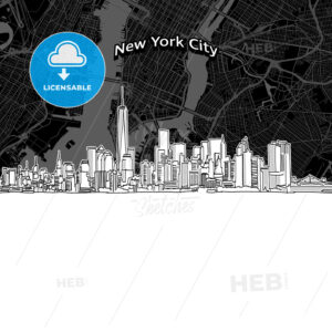 New York City skyline with map - HEBSTREITS