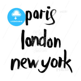 Paris, London, New York lettering