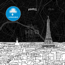 Paris skyline with map