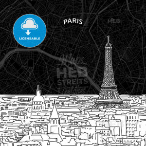 Paris skyline with map - HEBSTREITS