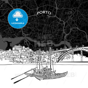 Porto skyline with map - HEBSTREITS