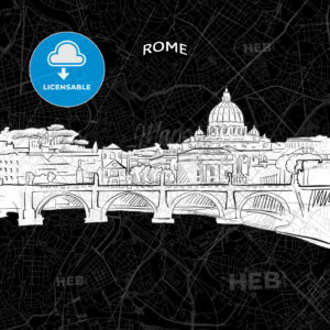 Rome skyline with map - HEBSTREITS