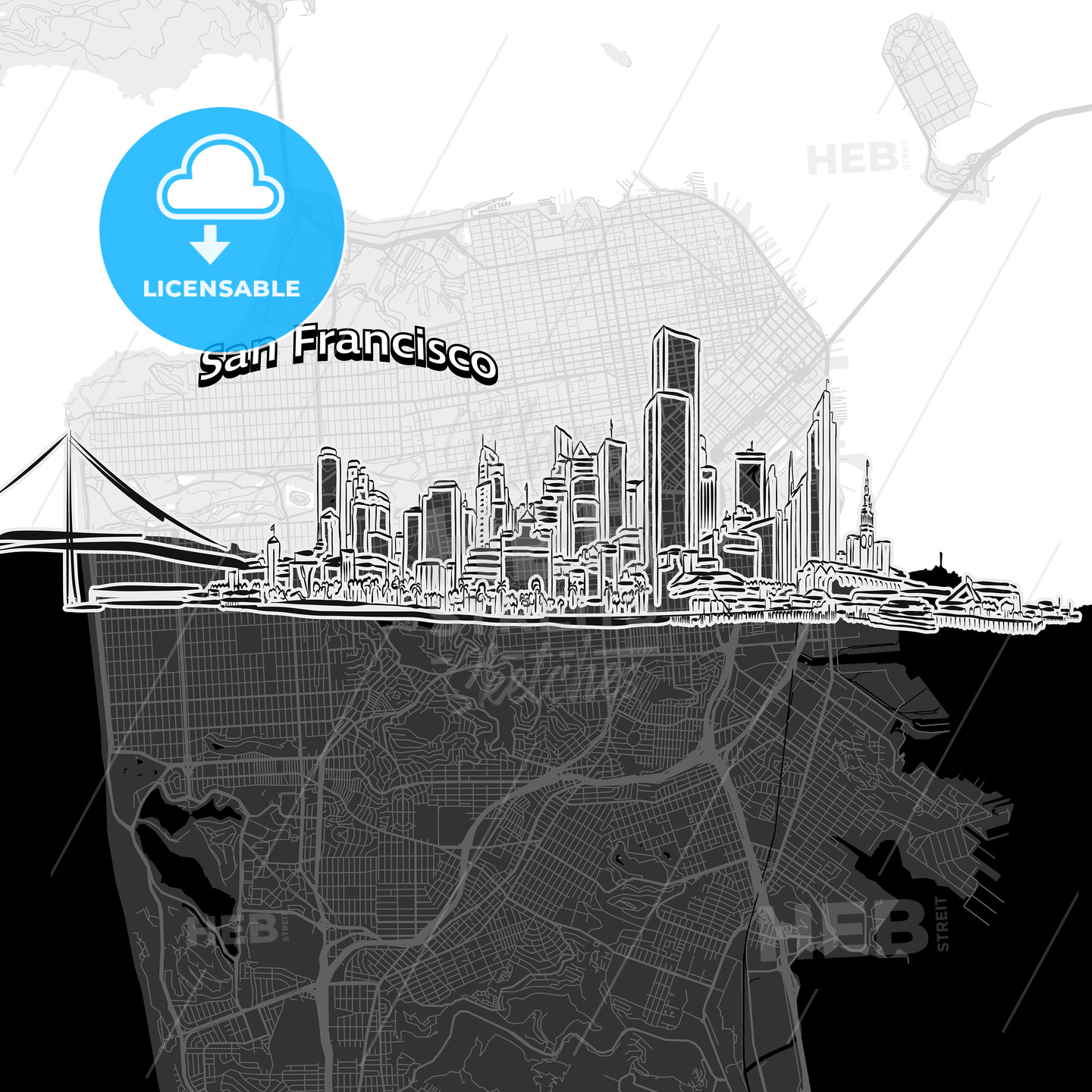 San Francisco skyline with map - HEBSTREITS