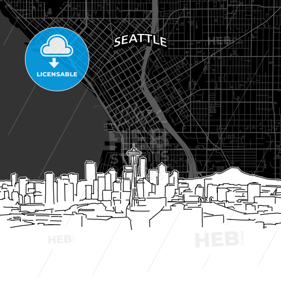 Seattle skyline with map - HEBSTREITS