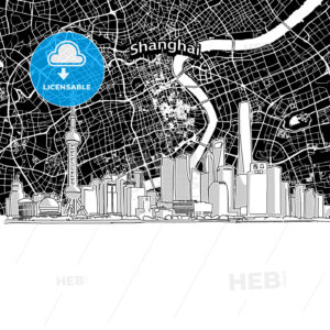 Shanghai skyline with map - HEBSTREITS