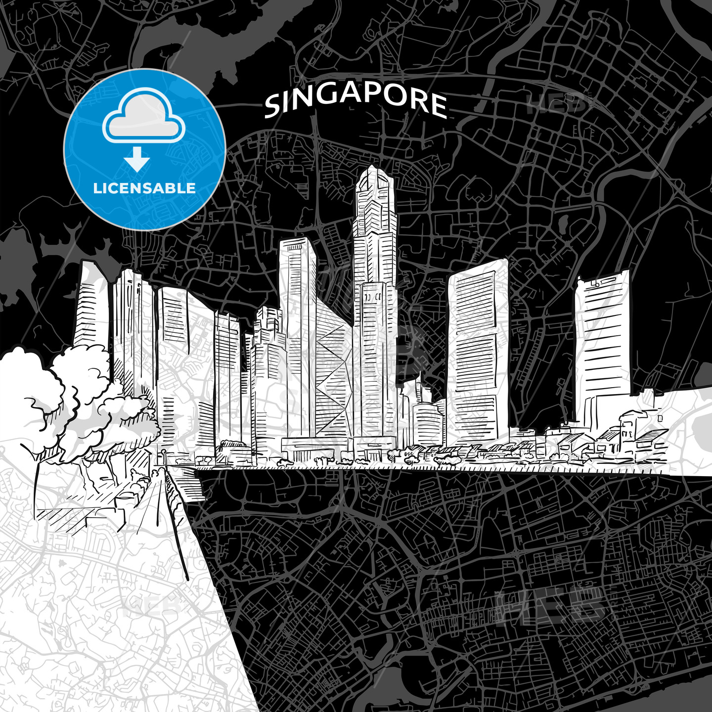 Singapore skyline with map - HEBSTREITS