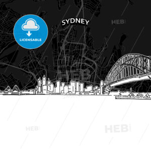 Sydney skyline with map - HEBSTREITS