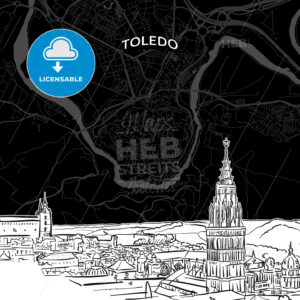 Toledo skyline with map - HEBSTREITS