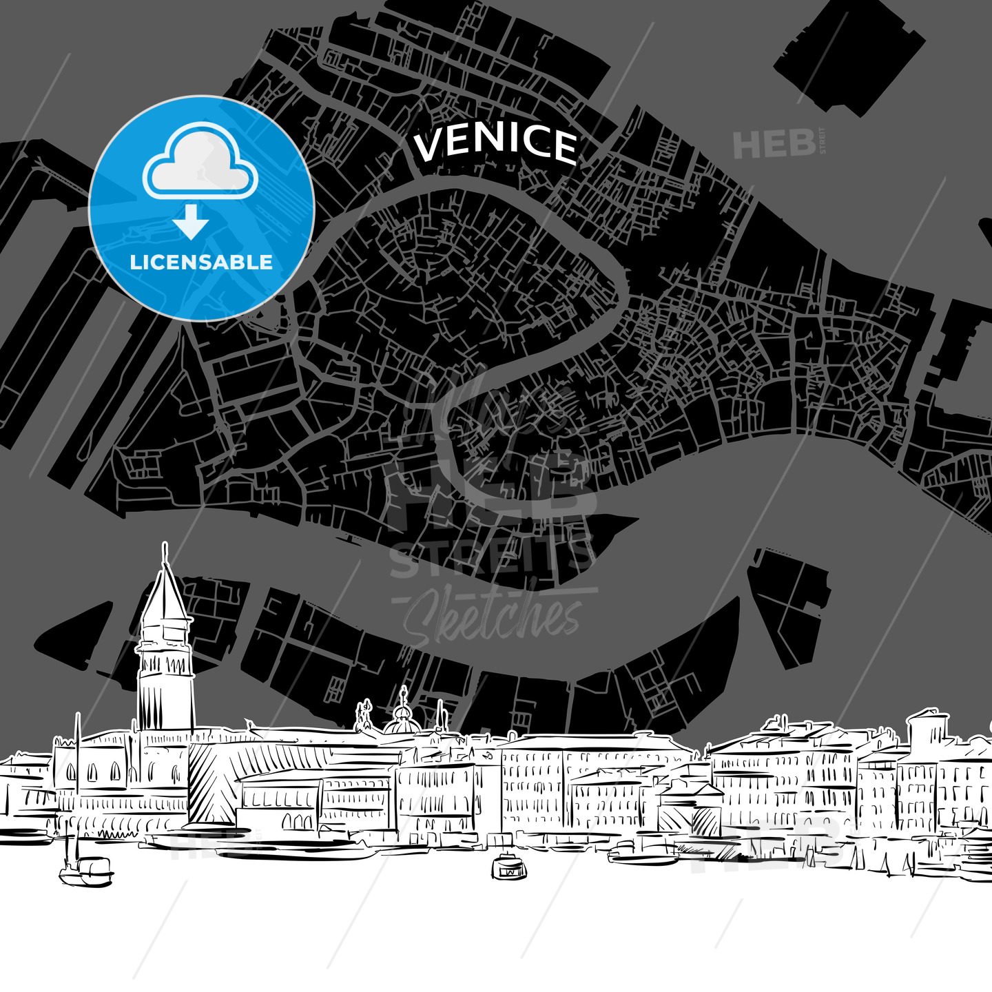Venice skyline with map - HEBSTREITS
