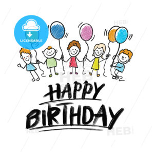 happy birthday lettering with kids doodles - HEBSTREITS