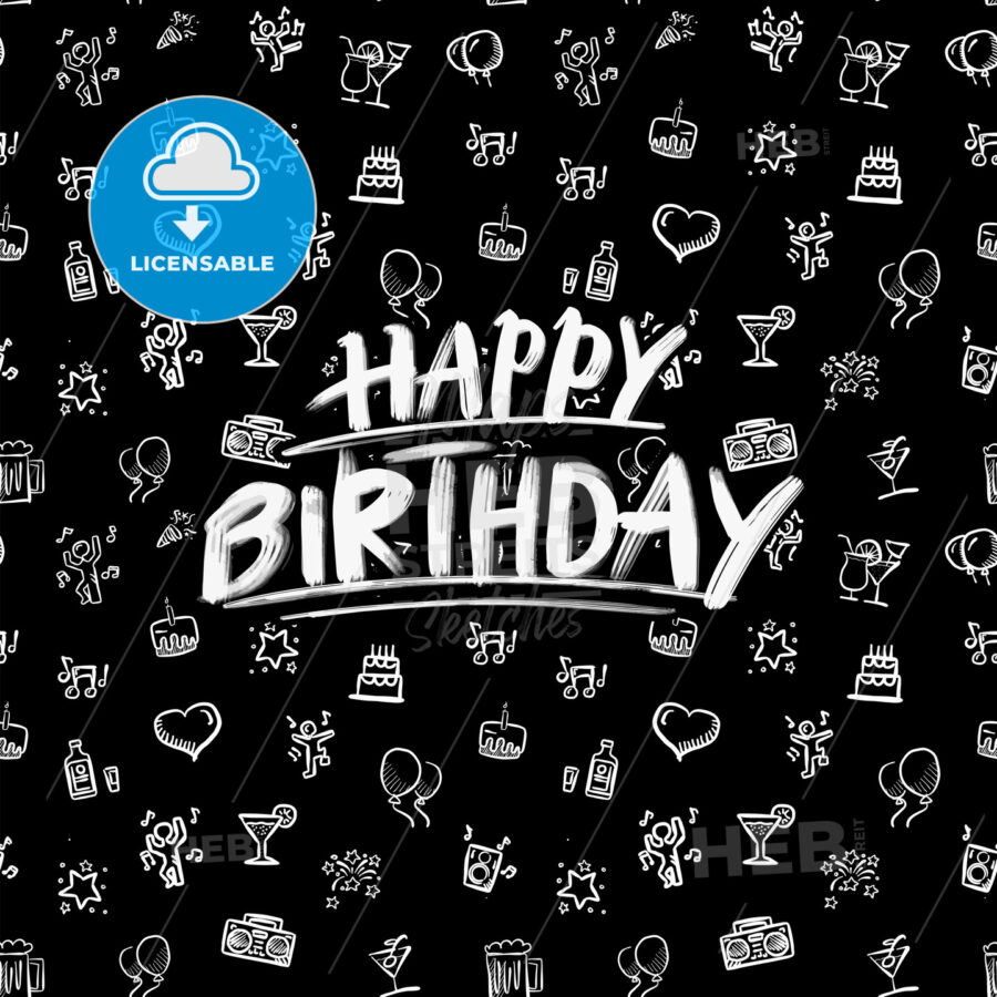 happy birthday lettering with party doodles - HEBSTREITS