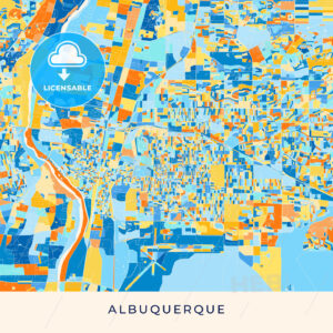 Albuquerque colorful map poster template - HEBSTREITS