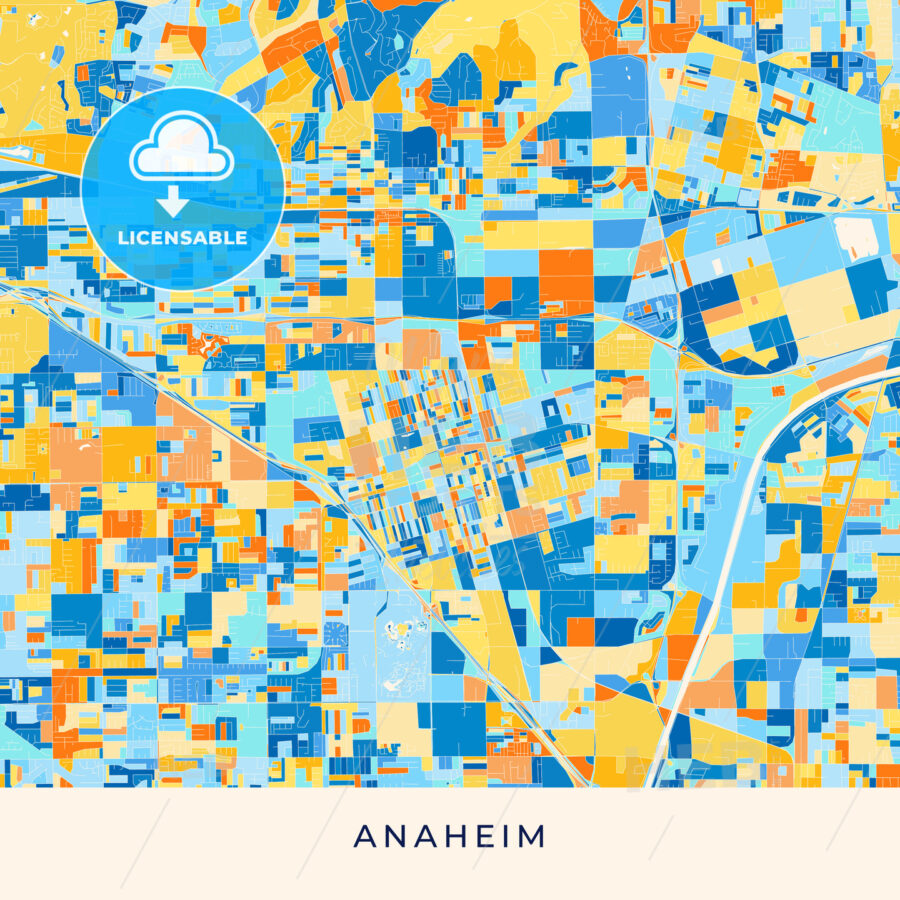 Anaheim colorful map poster template - HEBSTREITS