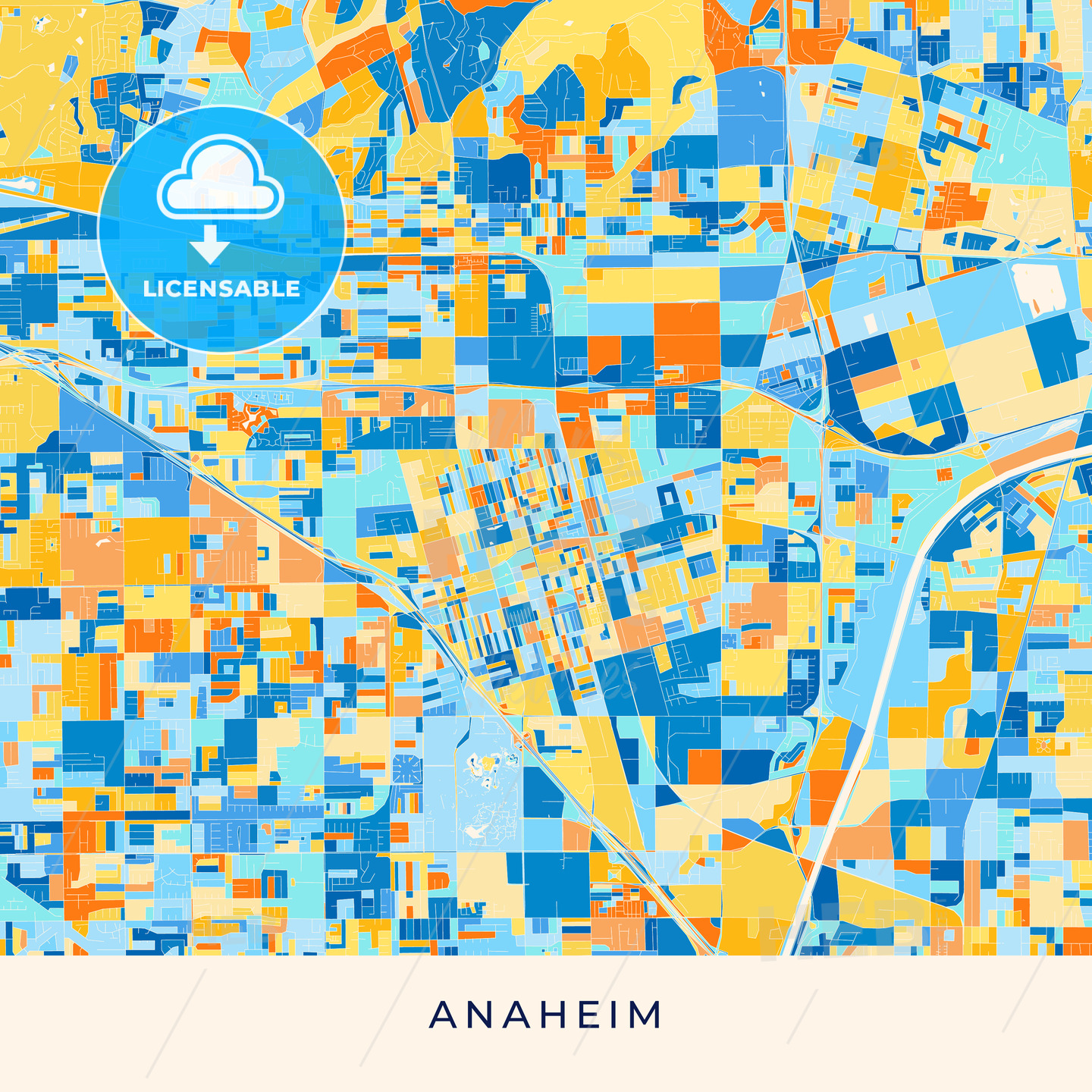 Colorful Map Of Usa.Anaheim Colorful Map Poster Template Hebstreits