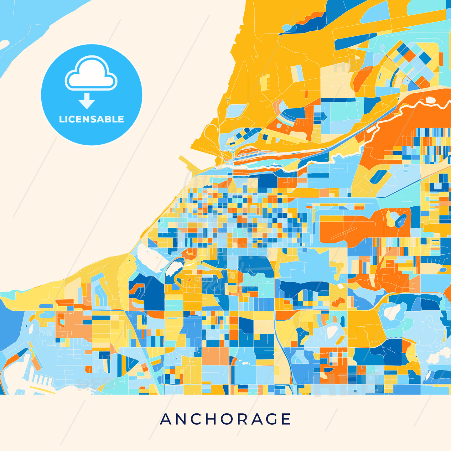 Anchorage colorful map poster template