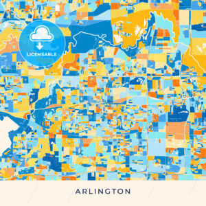Arlington colorful map poster template - HEBSTREITS