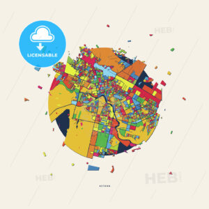 Astana Kazakhstan colorful confetti map - HEBSTREITS