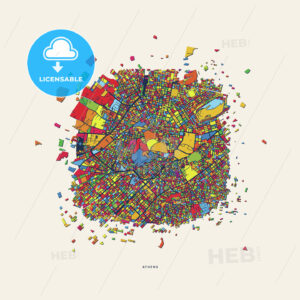 Athens Greece colorful confetti map - HEBSTREITS