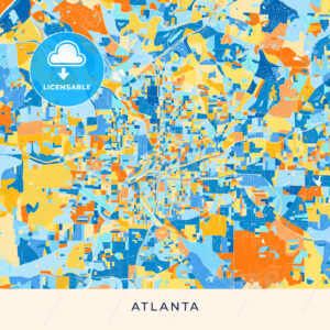 Atlanta colorful map poster template - HEBSTREITS