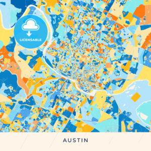 Austin colorful map poster template - HEBSTREITS
