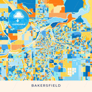 Bakersfield colorful map poster template - HEBSTREITS